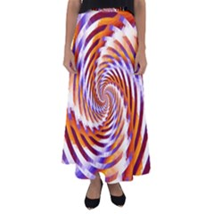 Woven Colorful Waves Flared Maxi Skirt