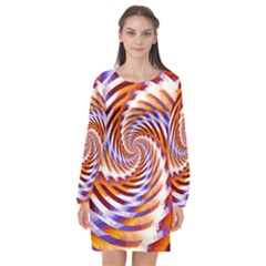 Woven Colorful Waves Long Sleeve Chiffon Shift Dress