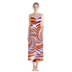 Woven Colorful Waves Button Up Chiffon Maxi Dress
