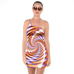 Woven Colorful Waves One Soulder Bodycon Dress
