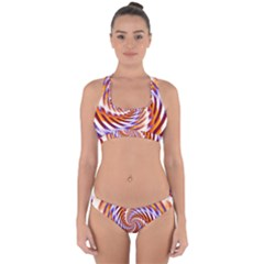 Woven Colorful Waves Cross Back Hipster Bikini Set