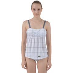 Pie Cooling On The Window Pane Pattern Twist Front Tankini Set