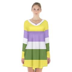 Bin Long Sleeve Velvet V Neck Dress