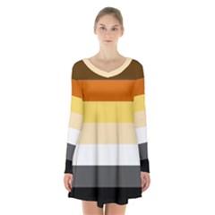 Brownz Long Sleeve Velvet V Neck Dress