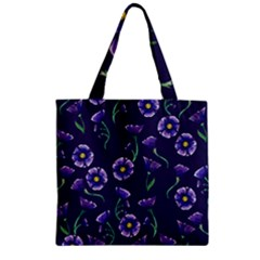 Floral Zipper Grocery Tote Bag