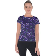 Floral Short Sleeve Sports Top