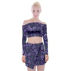 Floral Off Shoulder Top With Skirt Set