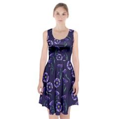 Floral Violet Purple Racerback Midi Dress