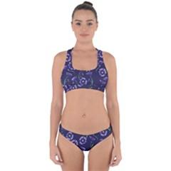 Floral Violet Purple Cross Back Hipster Bikini Set