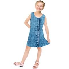 Denim Jeans Fabric Texture Kids  Tunic Dress