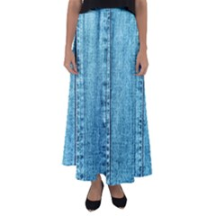 Denim Jeans Fabric Texture Flared Maxi Skirt