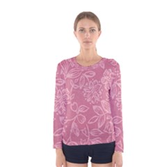 Floral Rose Flower Embroidery Pattern Women s Long Sleeve Tee
