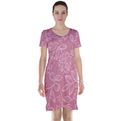 Floral Rose Flower Embroidery Pattern Short Sleeve Nightdress