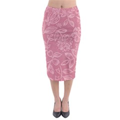Floral Rose Flower Embroidery Pattern Midi Pencil Skirt