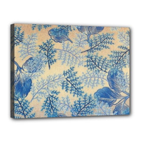 Fabric Embroidery Blue Texture Canvas 16  X 12
