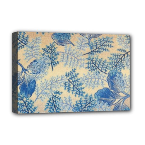 Fabric Embroidery Blue Texture Deluxe Canvas 18  X 12
