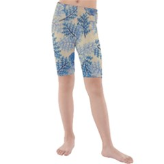 Fabric Embroidery Blue Texture Kids  Mid Length Swim Shorts