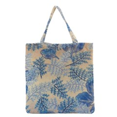 Fabric Embroidery Blue Texture Grocery Tote Bag