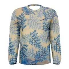 Fabric Embroidery Blue Texture Men s Long Sleeve Tee