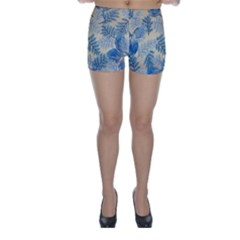 Fabric Embroidery Blue Texture Skinny Shorts