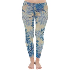 Fabric Embroidery Blue Texture Classic Winter Leggings