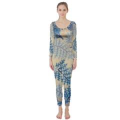Fabric Embroidery Blue Texture Long Sleeve Catsuit