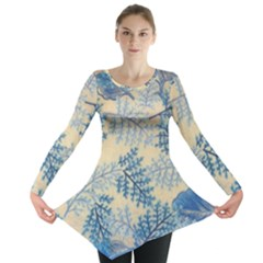 Fabric Embroidery Blue Texture Long Sleeve Tunic