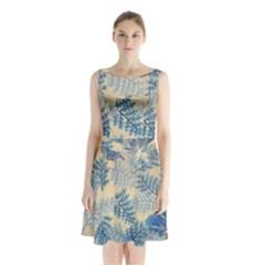 Fabric Embroidery Blue Texture Sleeveless Waist Tie Chiffon Dress