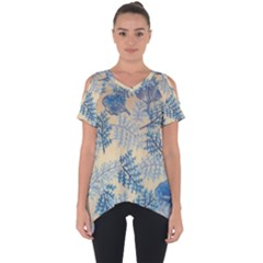 Fabric Embroidery Blue Texture Cut Out Side Drop Tee