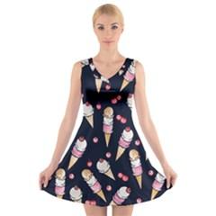 Ice Cream Lover V Neck Sleeveless Skater Dress