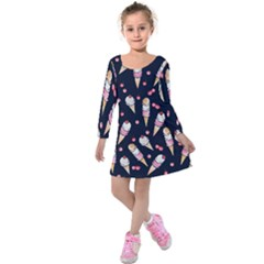 Ice Cream Lover Kids  Long Sleeve Velvet Dress