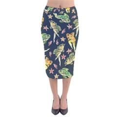 Reverse Mermaids Velvet Midi Pencil Skirt