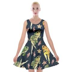 Reverse Mermaids Velvet Skater Dress