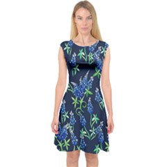 Bluebonnets Capsleeve Midi Dress