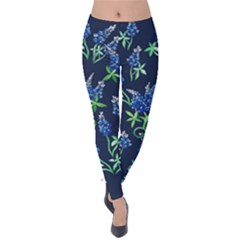 Bluebonnets Velvet Leggings