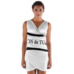 Coton De Tulear Dog Bone Wrap Front Bodycon Dress