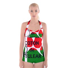 Coton Name Madagascar Paw Flag Boyleg Halter Swimsuit
