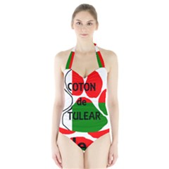 Coton Name Madagascar Paw Flag Halter Swimsuit