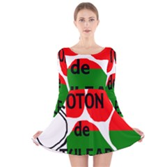 Coton Name Madagascar Paw Flag Long Sleeve Velvet Skater Dress