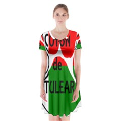 Coton Name Madagascar Paw Flag Short Sleeve V Neck Flare Dress