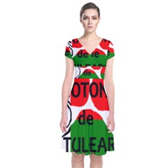 Coton Name Madagascar Paw Flag Short Sleeve Front Wrap Dress