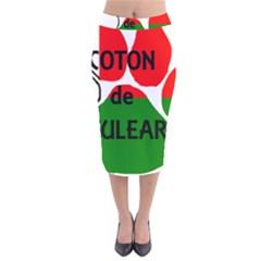 Coton Name Madagascar Paw Flag Velvet Midi Pencil Skirt