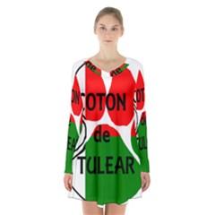 Coton Name Madagascar Paw Flag Long Sleeve Velvet V Neck Dress