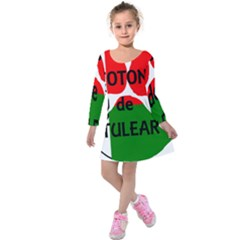 Coton Name Madagascar Paw Flag Kids  Long Sleeve Velvet Dress