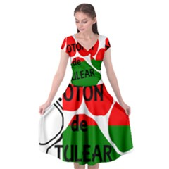 Coton Name Madagascar Paw Flag Cap Sleeve Wrap Front Dress