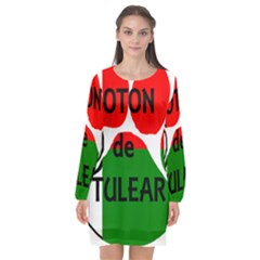 Coton Name Madagascar Paw Flag Long Sleeve Chiffon Shift Dress