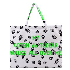 My Coton Walks On Me Zipper Large Tote Bag
