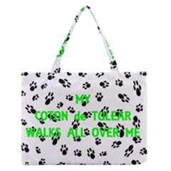 My Coton Walks On Me Zipper Medium Tote Bag