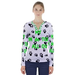 My Coton Walks On Me V Neck Long Sleeve Top