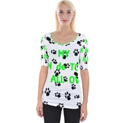 My Coton Walks On Me Wide Neckline Tee